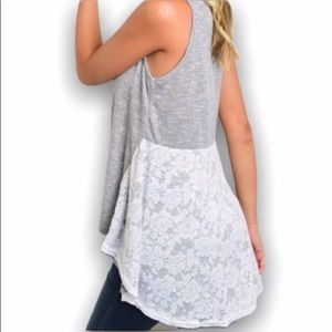 Tops - High low lace tank